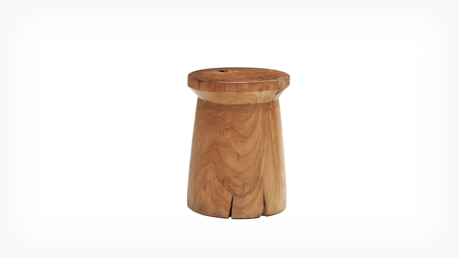 Solid Teak Wood Stool - Round | EQ3