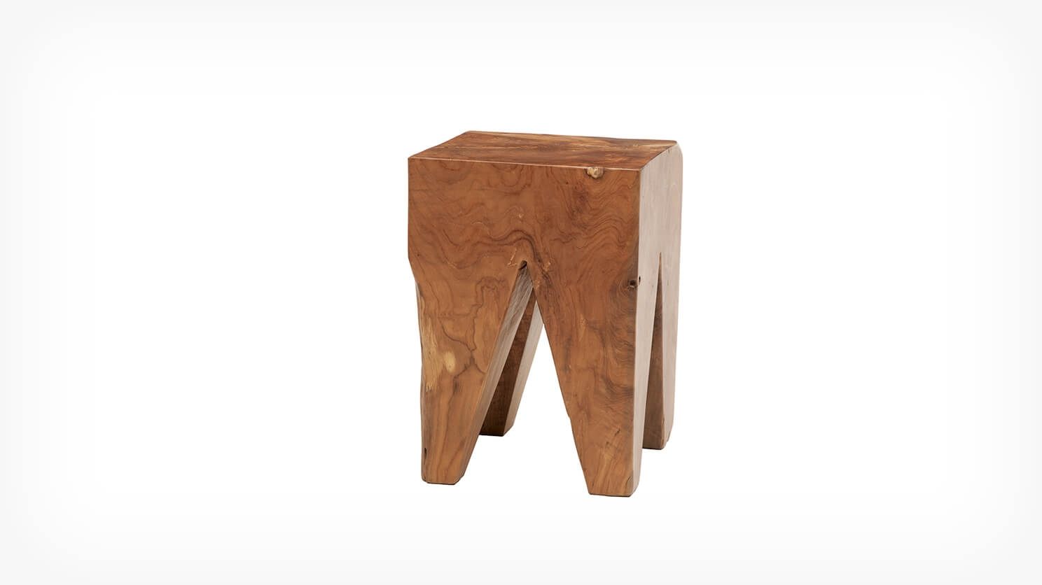 Solid Teak Wood Stool - Square | EQ3