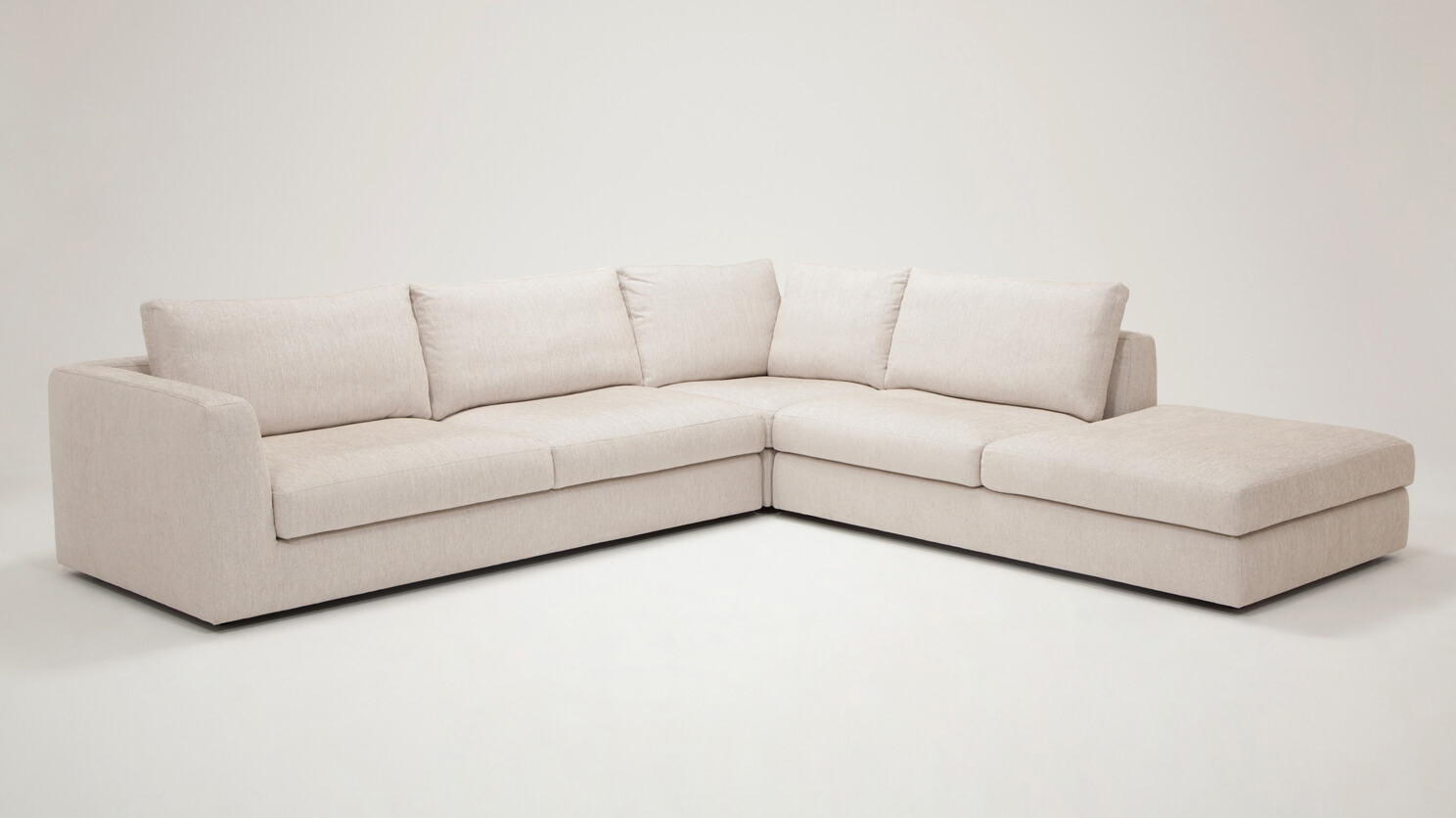 Cello 3-Piece Sectional Sofa with Backless Chaise - Fabric ...