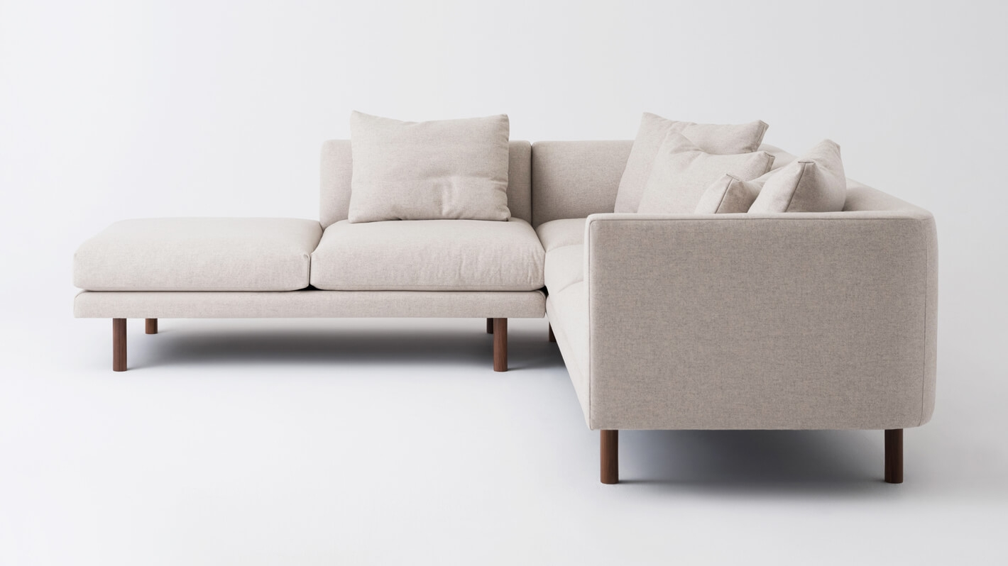 Replay 2 Piece Sectional Sofa With Backless Chaise   Fabric
