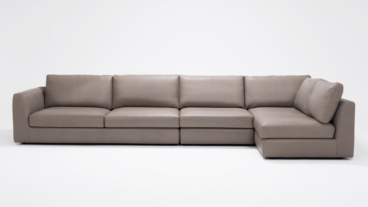 Cello 3 Piece Sectional Sofa With Full Arm Chaise Leather Eq3