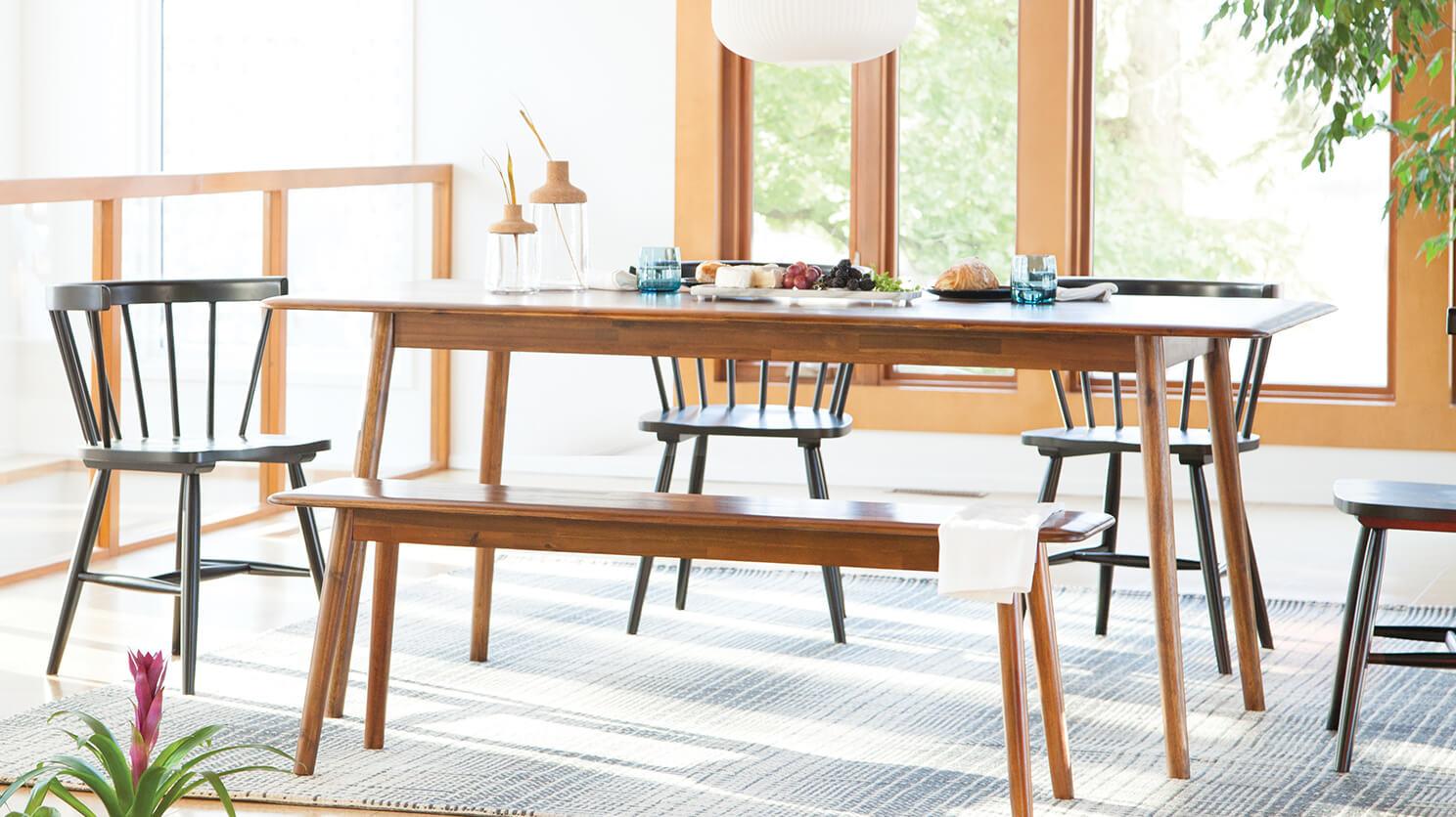 Kacia Bench Modern Boho Dining Table, Eq3 Dining Room Tables