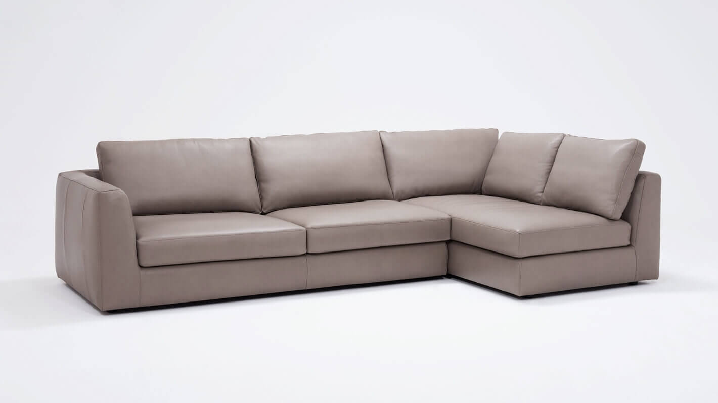 Cello 2-Piece Sectional Sofa with Full Arm Chaise - Leather