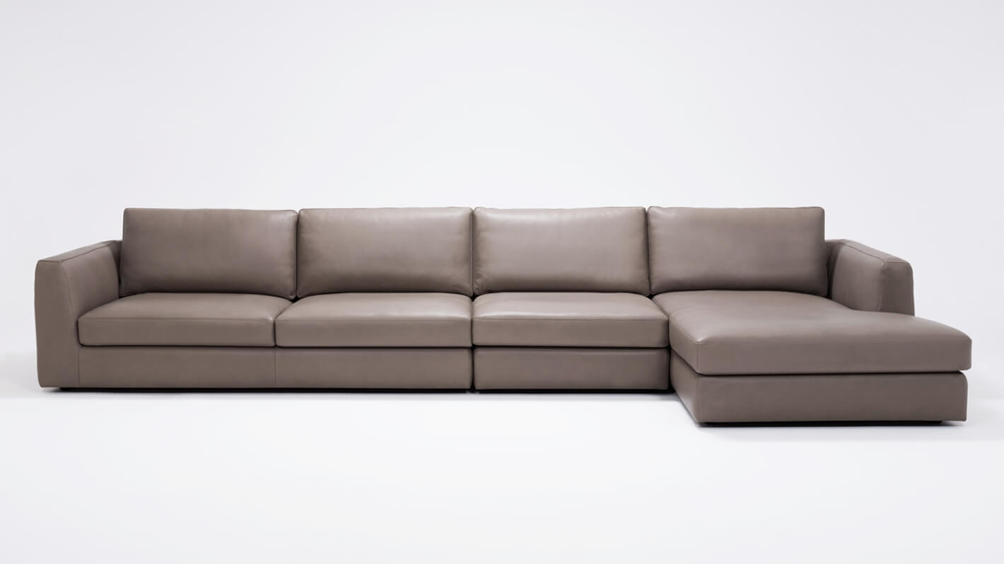 Cello 3-Piece Sectional Sofa with Chaise - Leather   EQ3