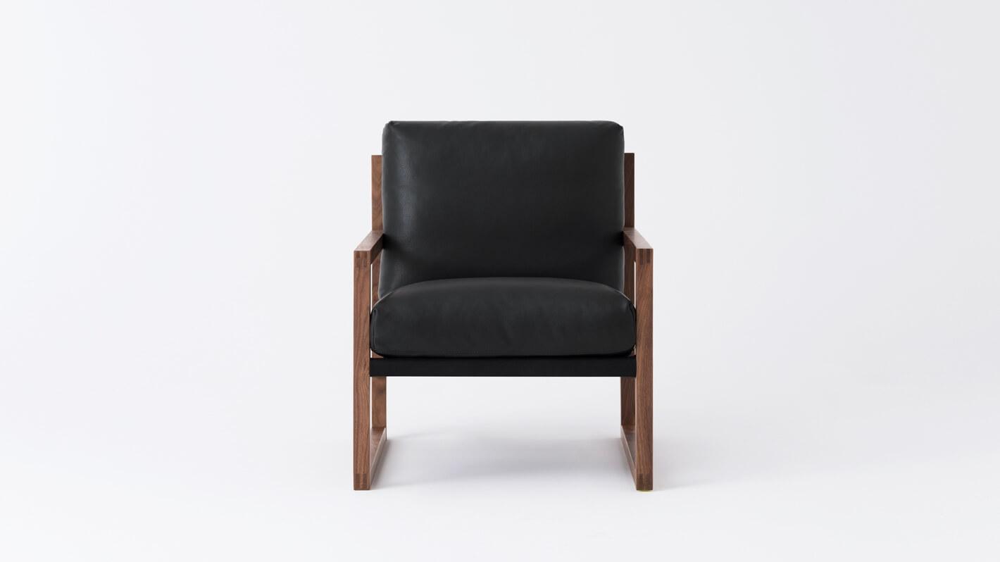 Grade 600 Suave Nero - Back: Cotton Duck Black - Walnut Wood Frame