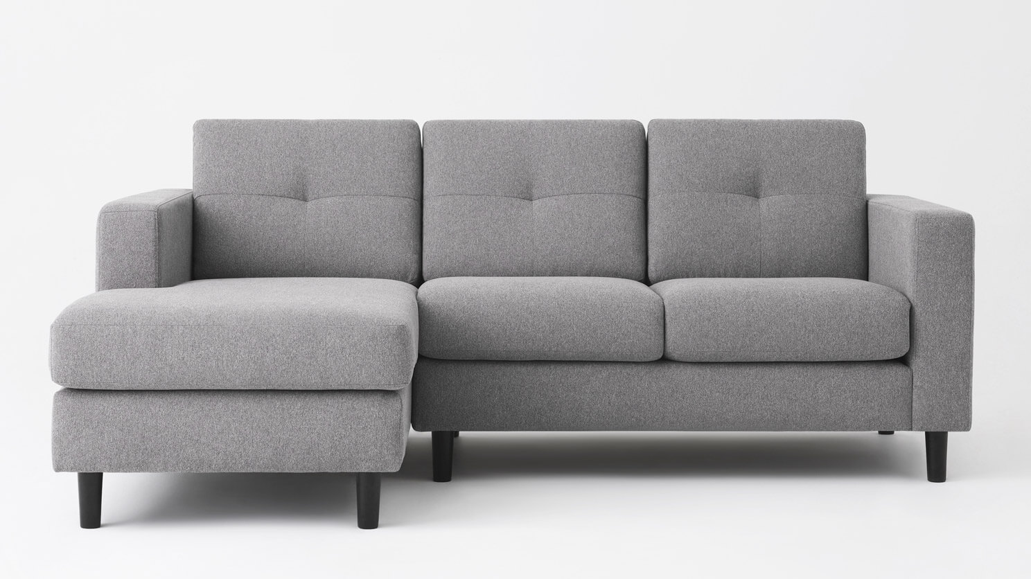Solo 2-Piece Sectional Sofa with Chaise - Mila Grey | EQ3